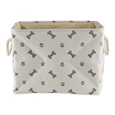 Design Imports Polyester Rectangle Pet Bin Paws & Bones Large