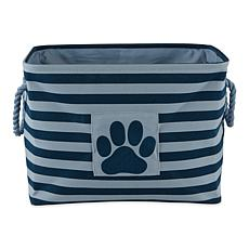 Design Imports Polyester Rectangle Stripe Paw Patch Pet Bin Small