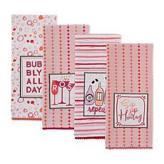 Design Imports Pop Fizz Sip Embellished Kitchen Towel Set of 4