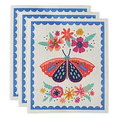 Design Imports Set of 3 Butterfly Folk Swedish Dishcloths