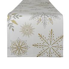 Design Imports Snowflake Sparkle Table Runner 14-inch x 72-inch