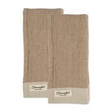 Design Imports Washed Waffle Woven Kitchen Towel Set of 2