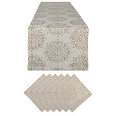 Design Imports Winter Sparkle Jacquard Table Set