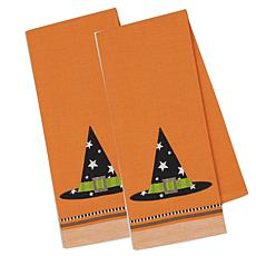 Design Imports Witch Hat Embellished Kitchen Towel Set of 2