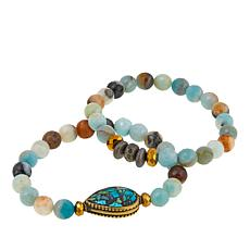 Devoted Jewelry Amazonite and Multistone 2-piece Bracelet Set