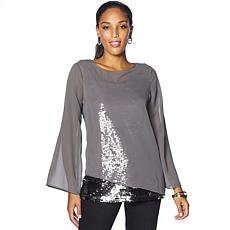 DG2 by Diane Gilman Asymmetric Blouse with Sequin Tank