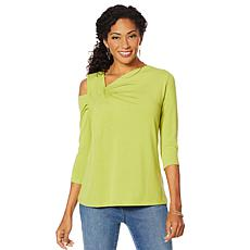 DG2 by Diane Gilman Asymmetric Drape Cold-Shoulder Top