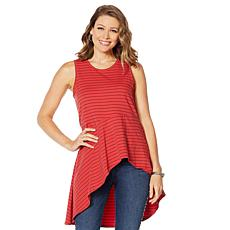 DG2 by Diane Gilman Asymmetric Drape Striped Tank