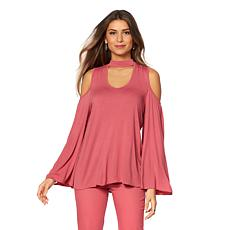 DG2 by Diane Gilman Bell-Sleeve Cold-Shoulder Top