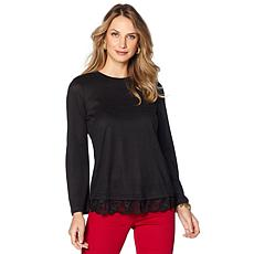 DG2 by Diane Gilman Bell-Sleeve Top with Lace Hem