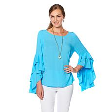 DG2 by Diane Gilman Cascading Ruffle Blouse