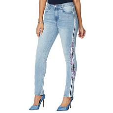 DG2 by Diane Gilman Classic Stretch Embroidered Stripe Skinny Jean