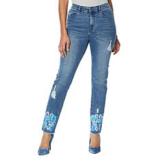 DG2 by Diane Gilman Classic Stretch Floral Fray-Hem Ankle Jean - Basic