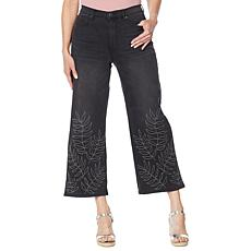 DG2 by Diane Gilman Classic Stretch Needle Punch Cropped Wide-Leg Jean