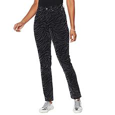 DG2 by Diane Gilman Classic Stretch Zebra Flocked Skinny Jean