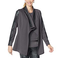 DG2 by Diane Gilman Coated Ponte Combo Knit Shawl Collar Jacket