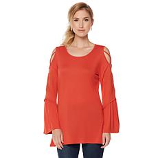 DG2 by Diane Gilman Cold-Shoulder Bell-Sleeve Top