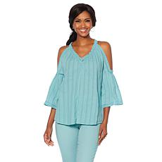DG2 by Diane Gilman Cold-Shoulder Crochet Blouse