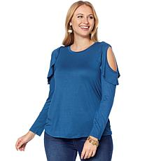 DG2 by Diane Gilman Cold-Shoulder Ruffle Top