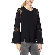 """DG2 by Diane Gilman """"DG Downtime"""" Lace Appliqué Sweatshirt"""