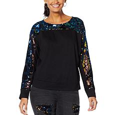 DG2 by Diane Gilman Dolman-Sleeve Top with Sequin Velour Accents