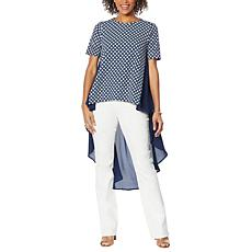 DG2 by Diane Gilman Dramatic Hi-Low Printed Crepe Colorblock Top