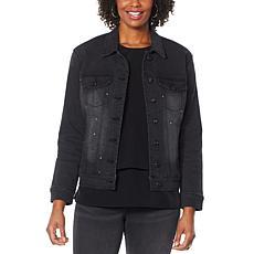 DG2 by Diane Gilman Embellished Classic Stretch Denim Jacket