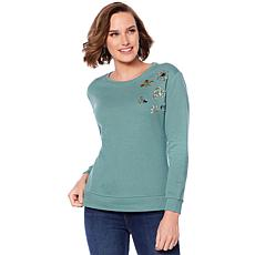 DG2 by Diane Gilman Embellished-Shoulder French Terry Top