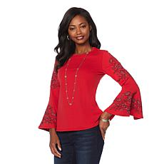 DG2 by Diane Gilman Embroidered Bell-Sleeve Sweatshirt