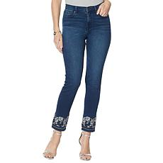 DG2 by Diane Gilman Embroidered Hem Ankle Jean  - Basic