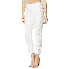 DG2 by Diane Gilman Embroidered Stripe Straight Cropped Jean