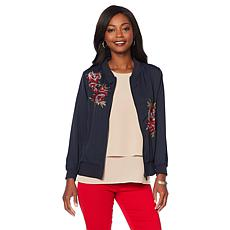 DG2 by Diane Gilman Embroidered Trophy Bomber Jacket