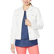 DG2 by Diane Gilman Frayed-Hem Denim Jacket