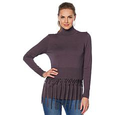 DG2 by Diane Gilman Fringe Detail Fully Fashioned Turtleneck