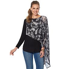 DG2 by Diane Gilman Knit Top with Asymmetric Chiffon Overlay