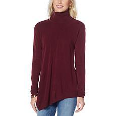 DG2 by Diane Gilman Lux Touch Asymmetric-Hem Turtleneck Sweater