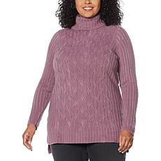 DG2 by Diane Gilman Lux Touch Cable Knit Sweater