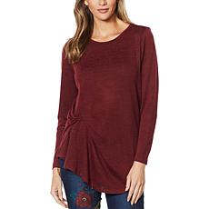 DG2 by Diane Gilman Marled Knit Draped Side Top