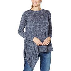 DG2 by Diane Gilman Metallic Knit Asymmetric Sweater