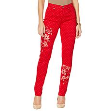 DG2 by Diane Gilman Mini Dot Embroidered Skinny Jean  - Fashion