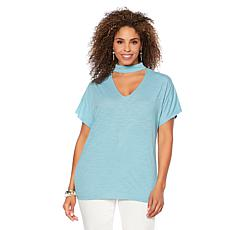 DG2 by Diane Gilman Mock Neck Cutout Top