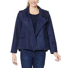 DG2 by Diane Gilman Oversized Brushed Knit Moto Jacket