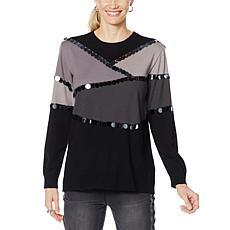 DG2 by Diane Gilman Paillette Colorblock Sweater