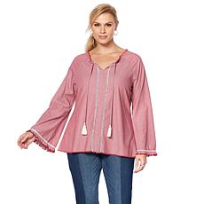 DG2 by Diane Gilman Peasant Top with Contrast Tassels