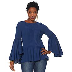DG2 by Diane Gilman Pintuck Bell-Sleeve Blouse