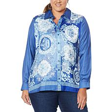 DG2 by Diane Gilman Printed Charmeuse Blouse