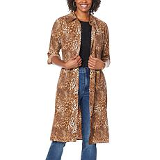 DG2 by Diane Gilman Printed Charmeuse Shirtdress/Duster