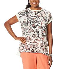 DG2 by Diane Gilman Printed Front Hi-Low Hem Top