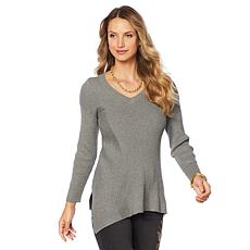 DG2 by Diane Gilman Quad Blend Asymmetric V-Neck Sweater