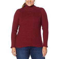 DG2 by Diane Gilman Quad Blend Ribbed Turtleneck Sweater